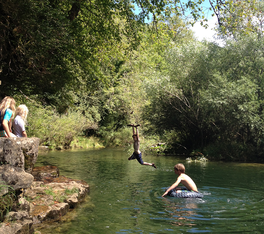 Wild swimming and rope swinging