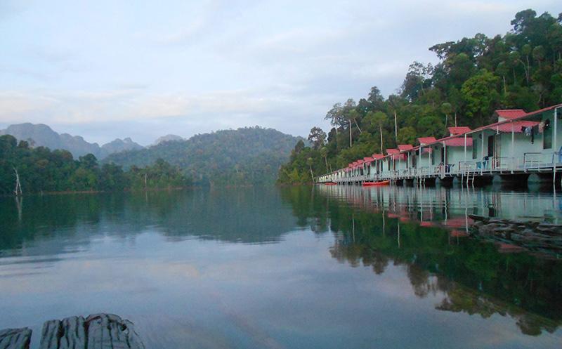 Floating raft houses in Khao Sok National Park