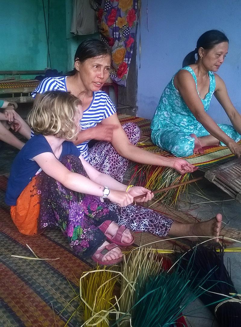 Weaving rush mats in Vietnam