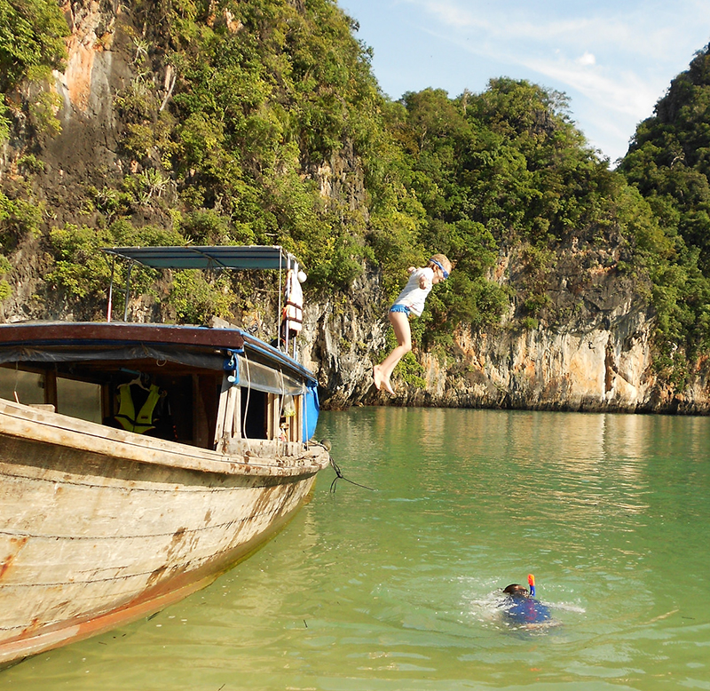 Jumping off a boat in Thailand