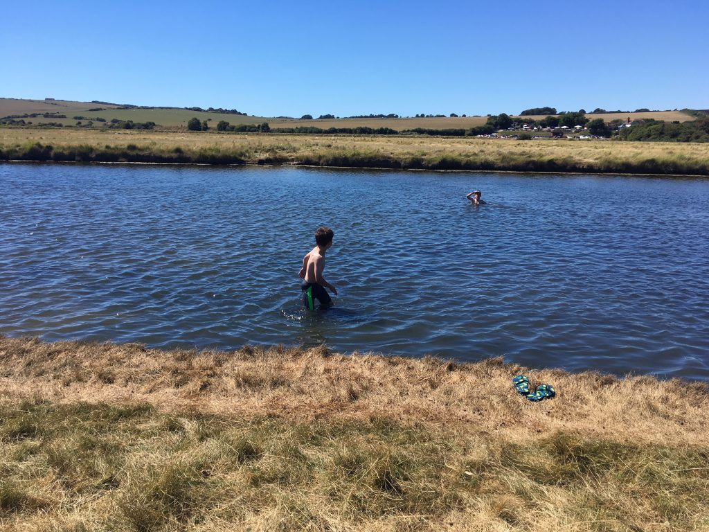 River swimming with kids