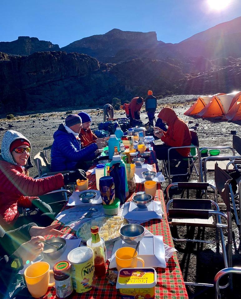 Camp breakfast on the trek to Kilimanjaro