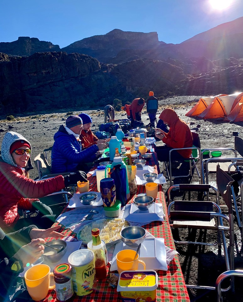Camp breakfast on the trek to Kilimanjaro