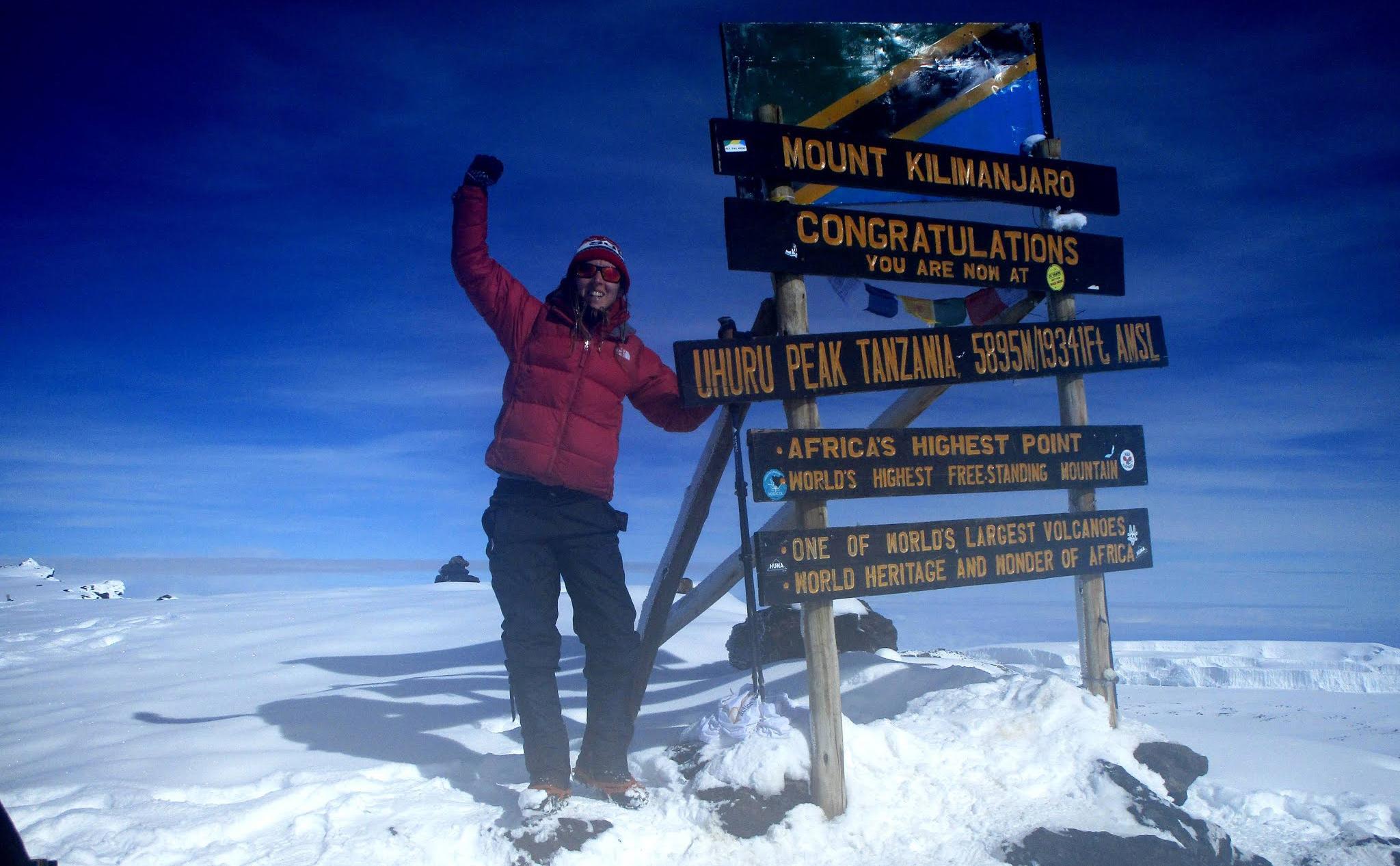 Sal Bolton reaches the summit of Kilimanjaro