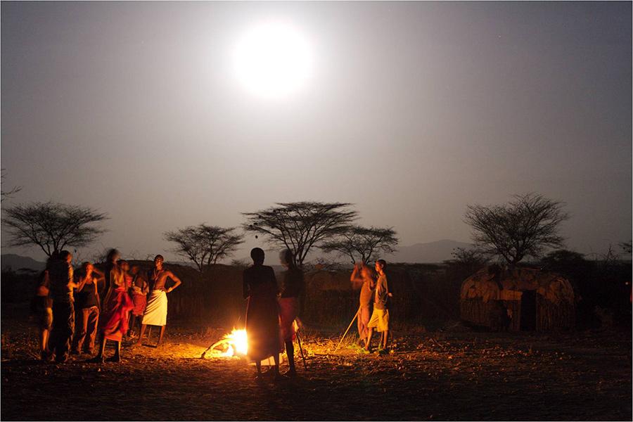 African bush campfire